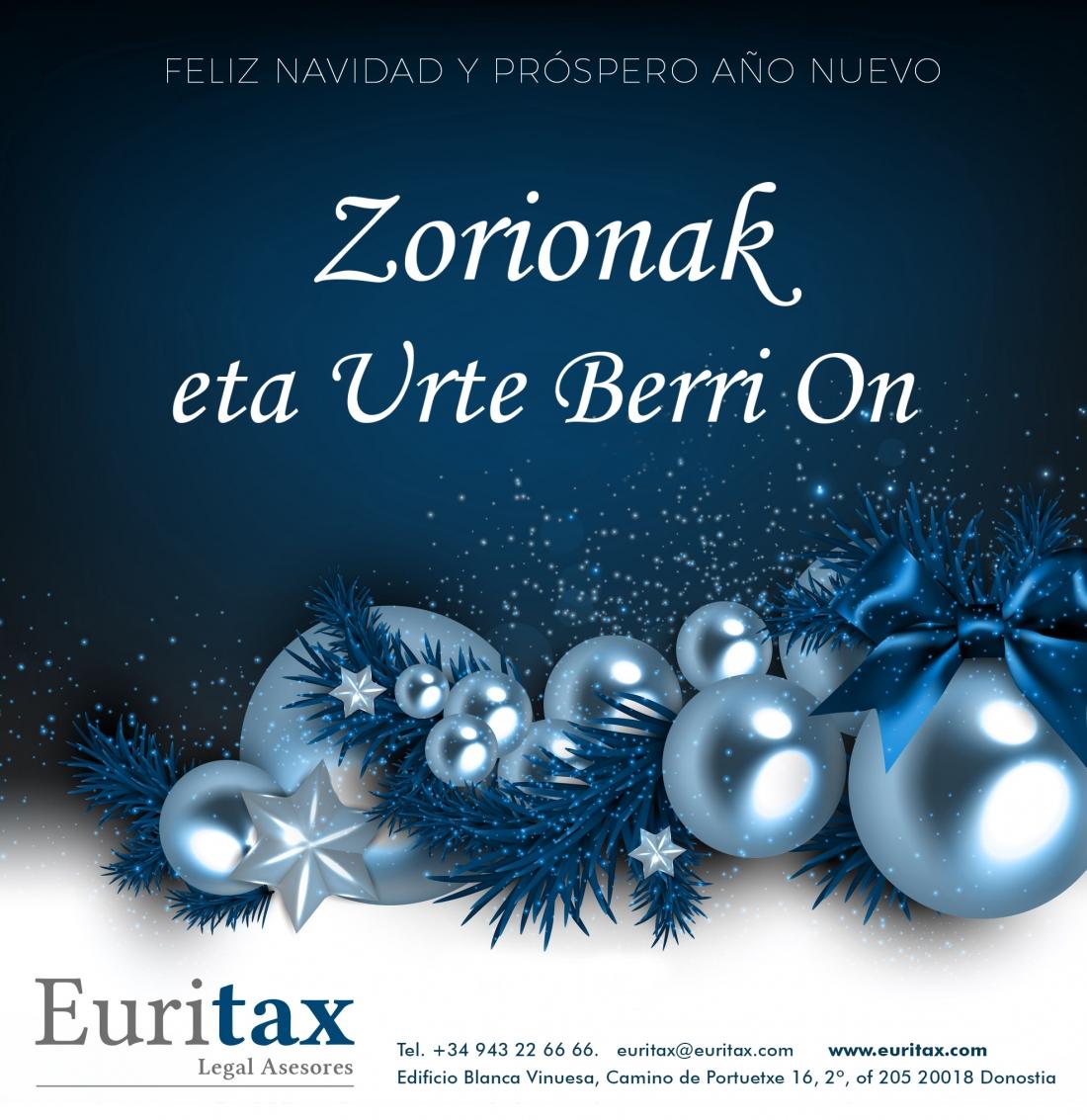 felicitación de navidad Euritax y feliz año nuevo 2019